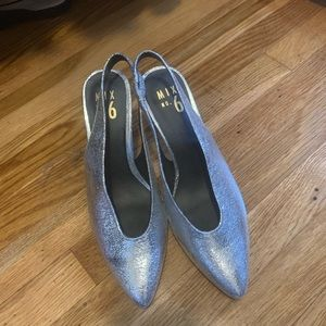 MIX NO.6 Silver pointed toe heels